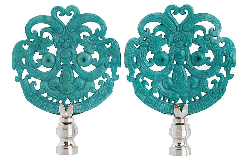 Smiling Dragon Lamp Finials, Pair