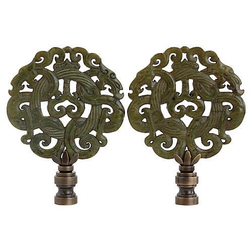Asian Laced Dragon Lamp Finials, Pair