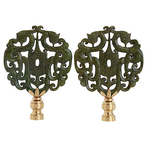 Dragon Crest Lamp Finials, Pair