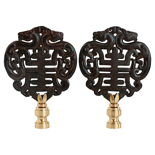 Chinese Calligraphy Lamp Finials, Pair