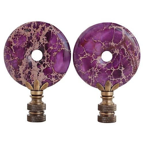 Ultra Violet Jasper Lamp Finials, Pair