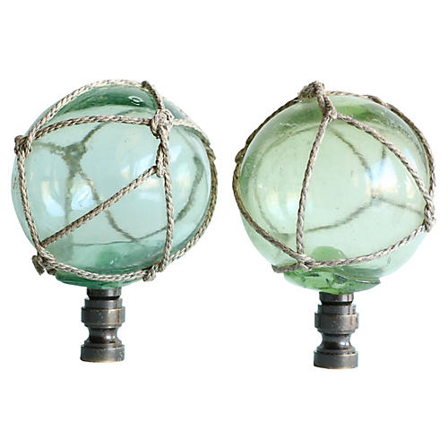 Netted Green Glass Lamp Finials, Pair