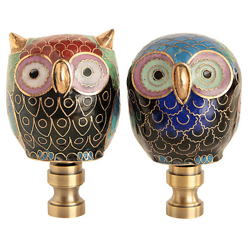 Cloisonné Owl Lamp Finials, Pair
