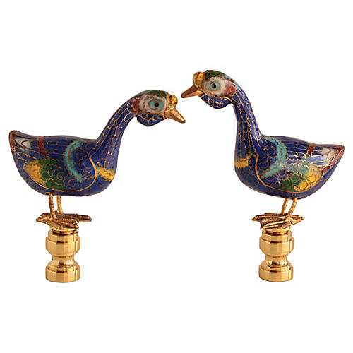 Cloisonné Goose Lamp Finials, Pair