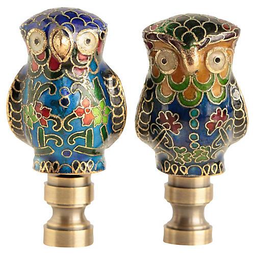 Cloisonné Owl Lamp Finials, Pair