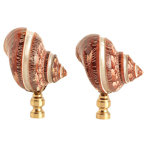 Banded Shell Lamp Finials, Pair