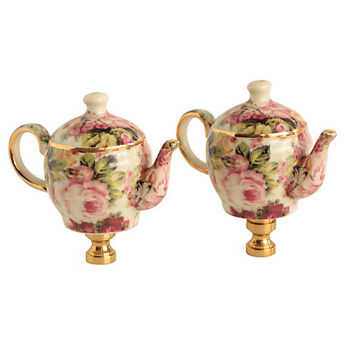 Peony Chintz China Lamp Finials, Pair