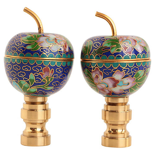 Chinese Cloisonné Lamp Finials, Pair