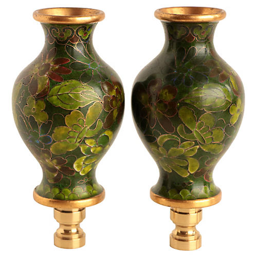 Cloisonné Vase Lamp Finials, Pair