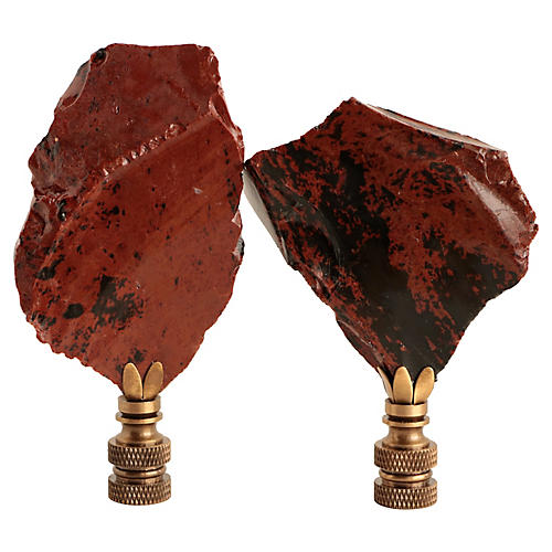 Mahogany Obsidian Lamp Finials, Pair