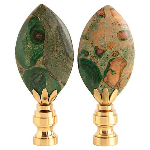 Spotted Jasper Lamp Finials, Pair