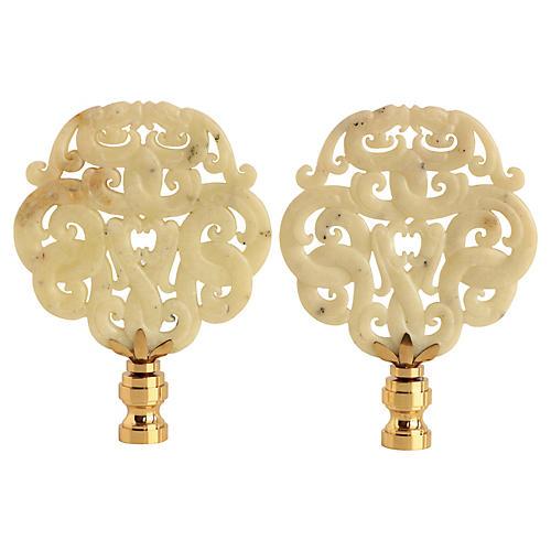 Asian Scroll Lamp Finials, Pair