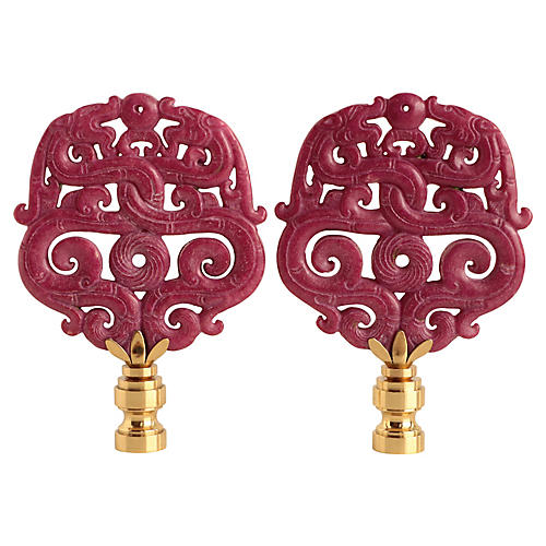 Laced Dragon Lamp Finials, Pair