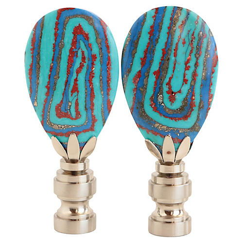 Whirled Turquoise Lamp Finials, Pair