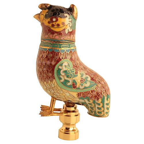 Chinese Cloisonné Bird Lamp Finial
