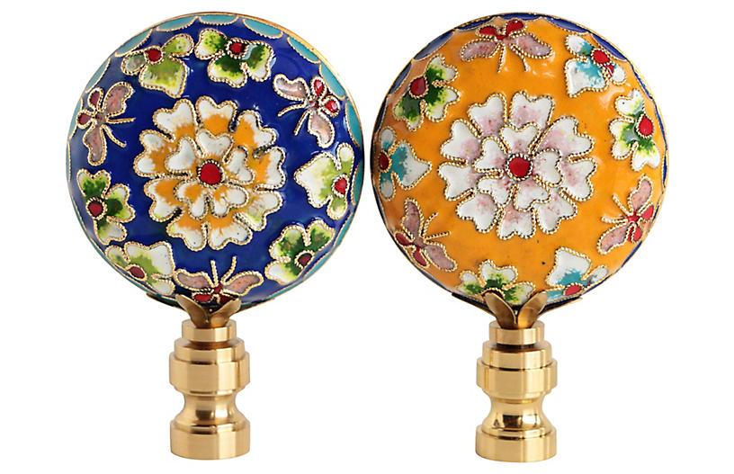 Champlevé Cloisonné Lamp Finials, Pair