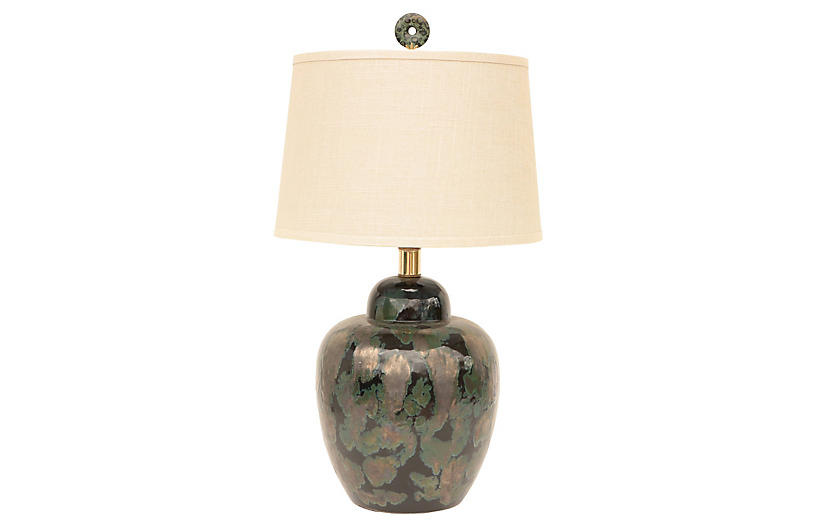 Black & Verdigris Ceramic Table Lamp