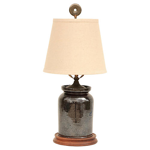 Pennsylvania Redware Table Lamp