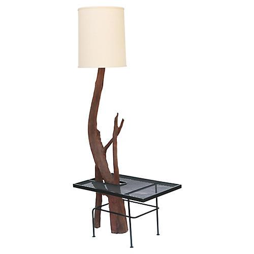 Monumental Driftwood Floor Lamp w/ Table