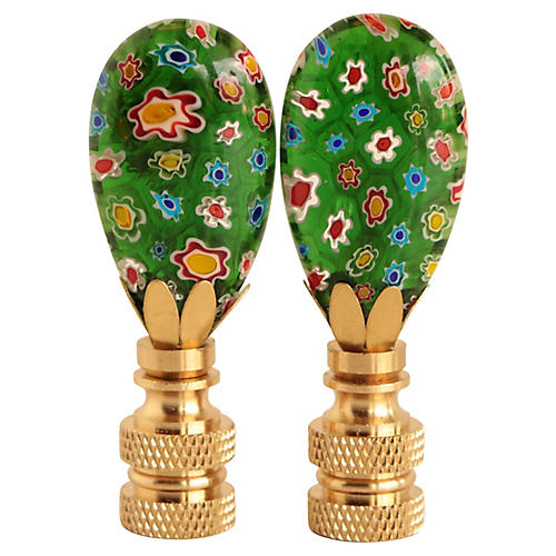 Millefiori Glass Lamp Finials, Pair