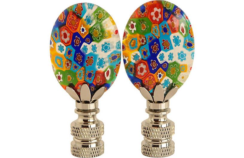 Millefiori Glass Lamp Finials, Pair