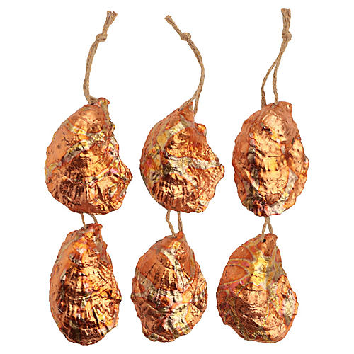 Fire Gilded Oyster Shell Ornaments, S/6