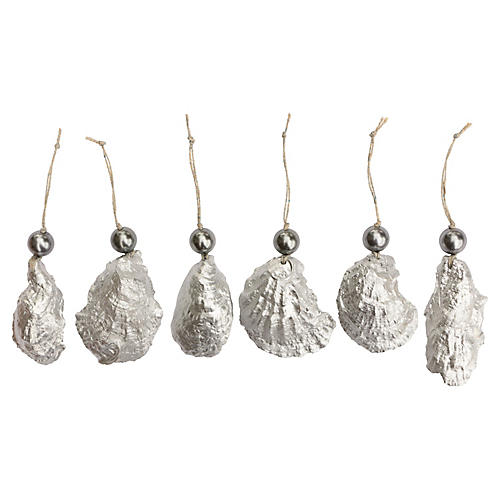 Silver & Pearl Oyster Ornaments, S/6