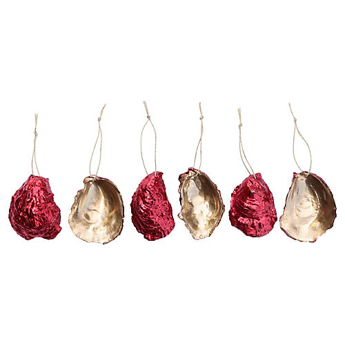 Red Gilded Oyster Shell Ornaments, S/6