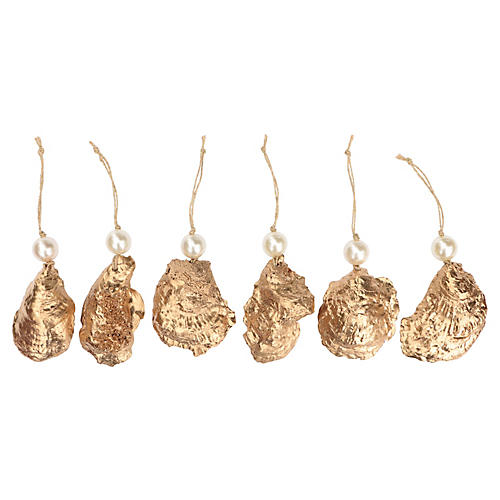 Gold & Pearl Oyster Ornaments, S/6