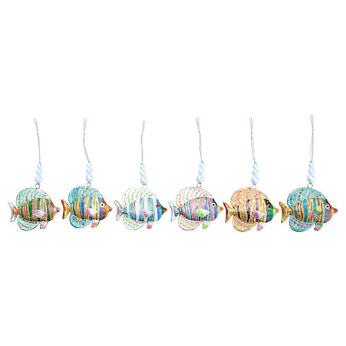 Cloisonné Reef Fish Ornaments, Set of 6