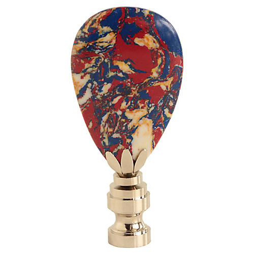 Marbled Lamp Finial in Red White & Blue