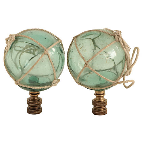 Petite Netted Glass Lamp Finials, Pair