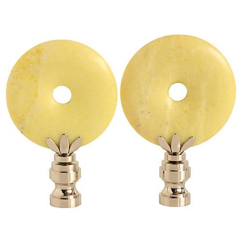 Lemon Jade Lamp Finials, Pair