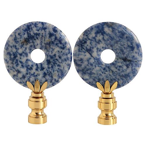 Cobalt Blue Sodalite Lamp Finials, Pair