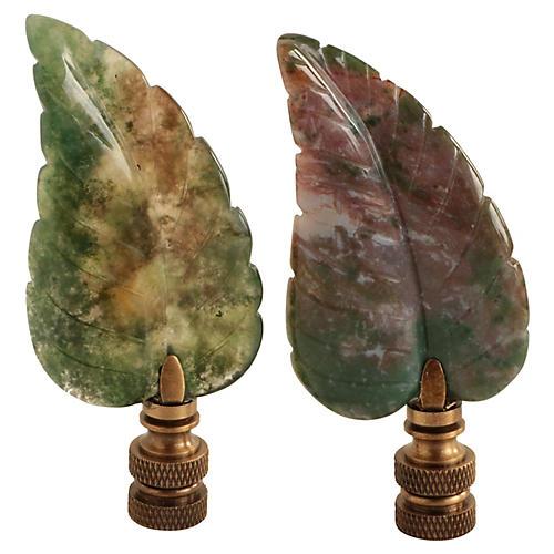 Fall Leaf Agate Lamp Finials, Pair