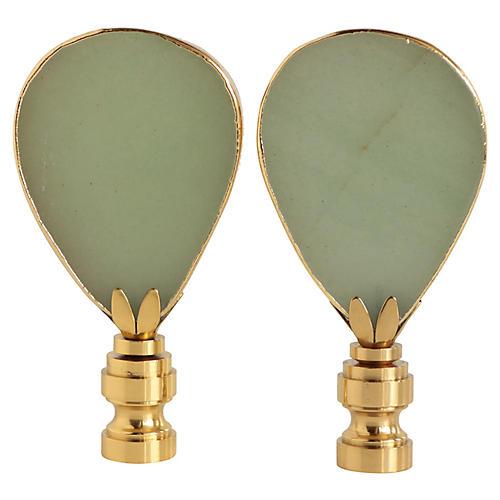 Gilded Aventurine Lamp Finials, Pair