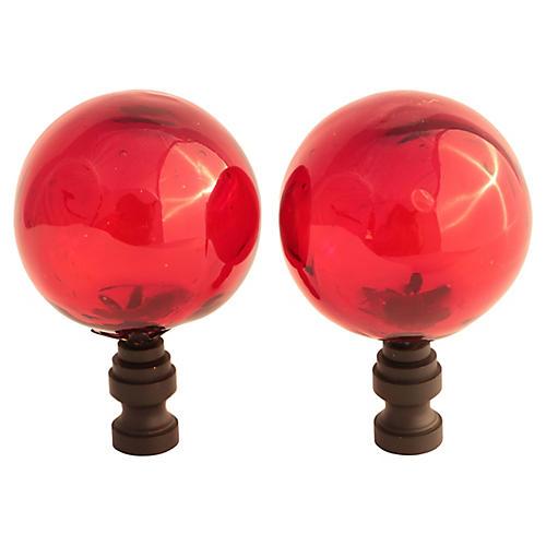 Blown Glass Lamp Finials, Pair