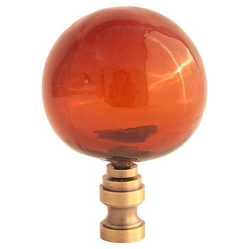 Blown Glass Lamp Finial, Brown