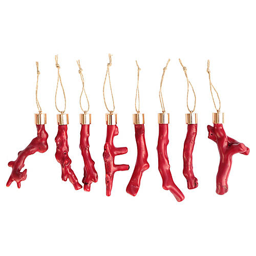 Red Coral Christmas Ornaments, Set of 8