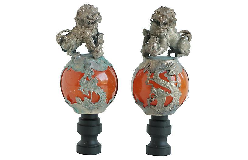 Foo Dog Lamp Finials, Pair