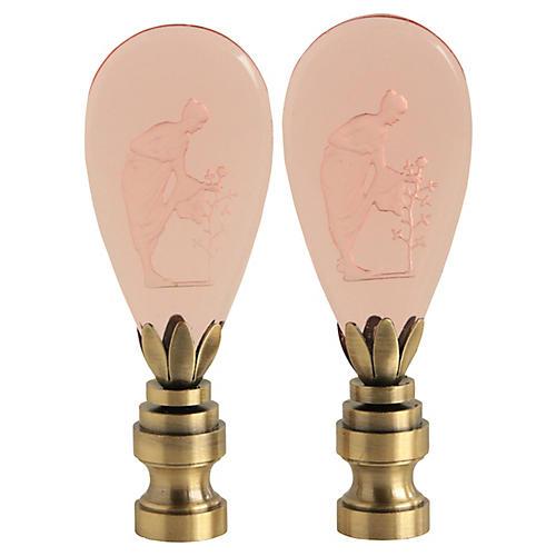 Blush Intaglio Glass Lamp Finials, Pair