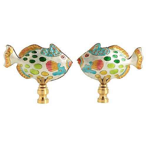 Spotted Reef Fish Lamp Finials, Pair