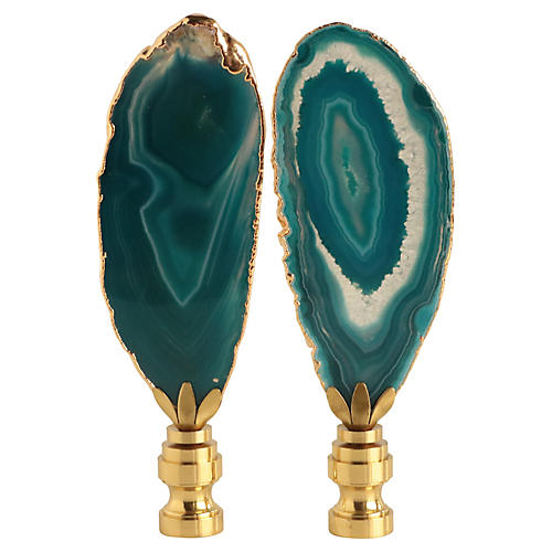 Golden Agate Slice Lamp Finials, Pair
