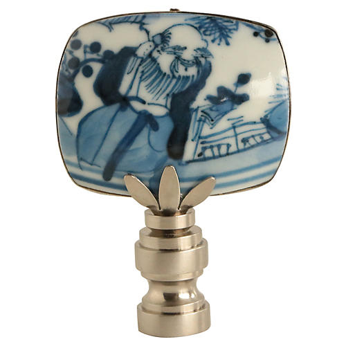 Blue & White Pottery Lamp Finial
