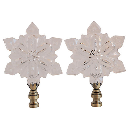 Crystal Snowflake Lamp Finials, Pair
