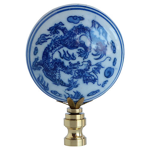 Chinese Blue & White Pottery Lamp Finial