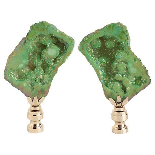 Titanium Geode Lamp Finials, Pair