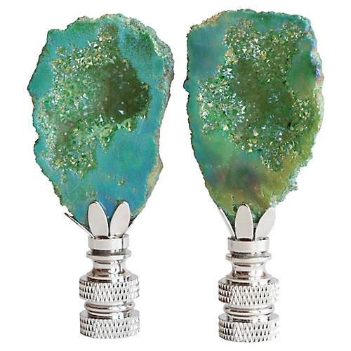Split Geode Lamp Finials, Pair