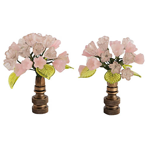 Venetian Glass Flower Lamp Finials, Pair