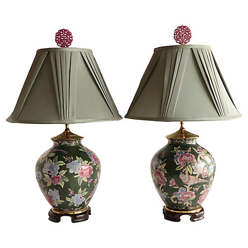 Chinoiserie Floral Table Lamps, Pair